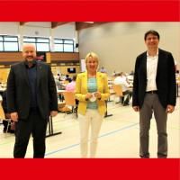 Rafael Herbrik, Martina Fehlner, Florian von Brunn beim UB-Parteitag in Stockstadt